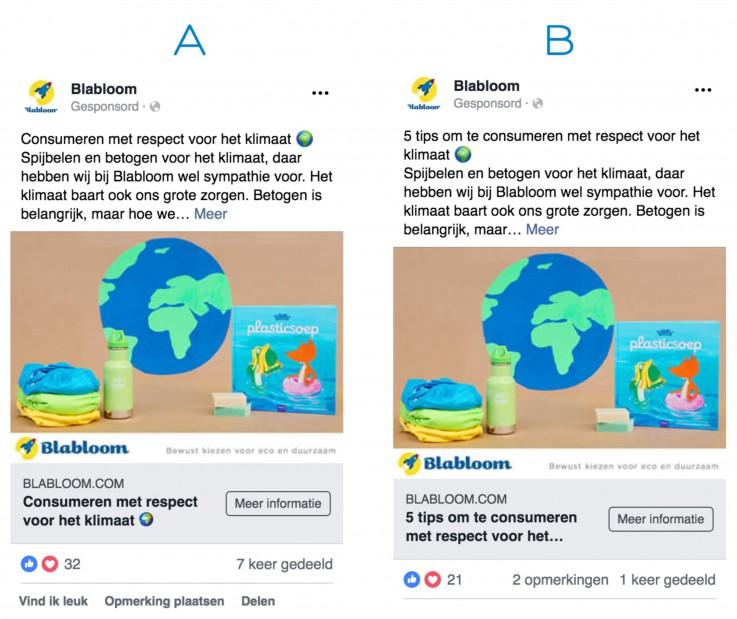 Facebook advertenties A/B test