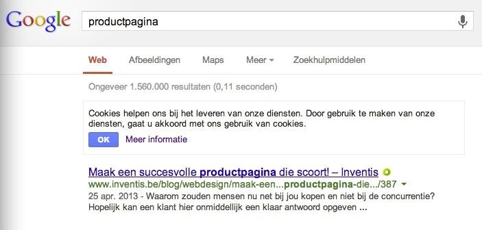 Googlesearch voor productpagina