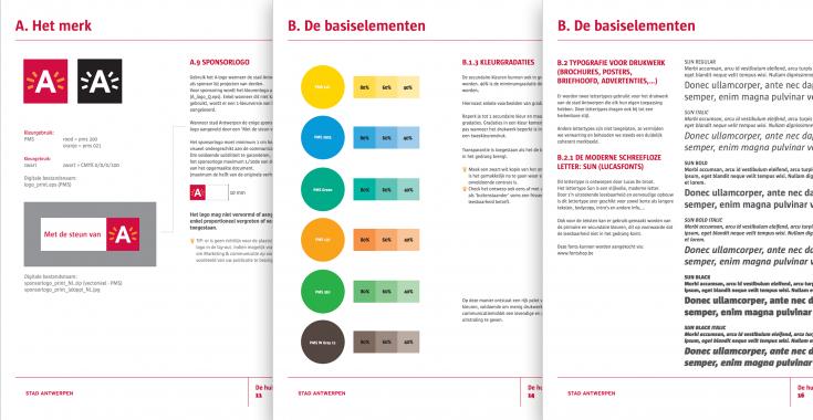Voorbeeld huisstijlgids Antwerpen [bron - http://www.ondernemeninantwerpen.be/sites/default/files/documents/Huisstijlgids.pdf]