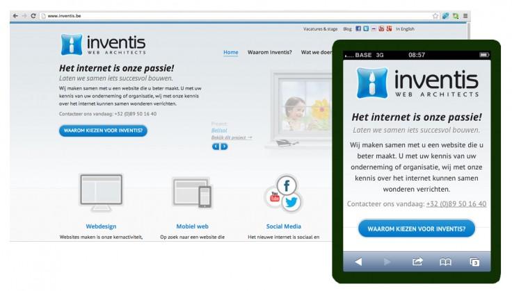 Website Inventis op smartphone