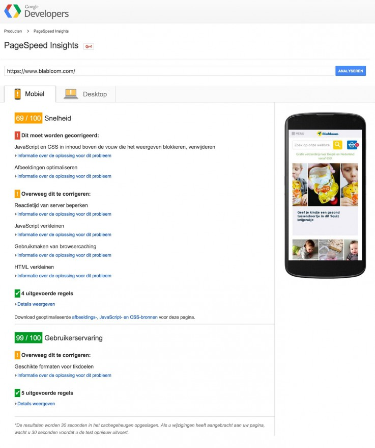 PageSpeed Insights Mobiel