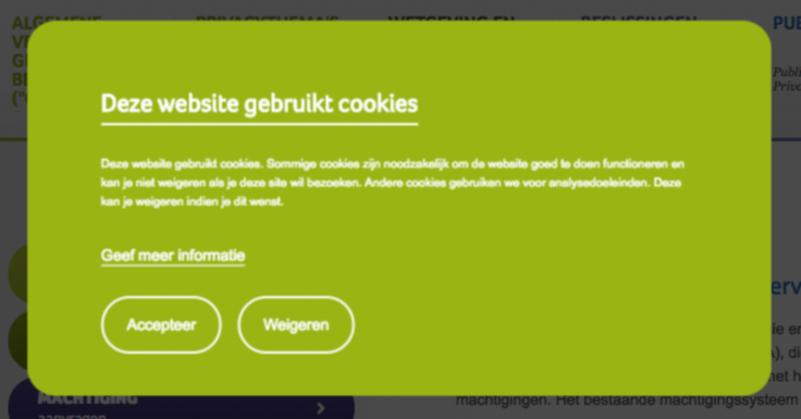 cookie melding privacy commissie