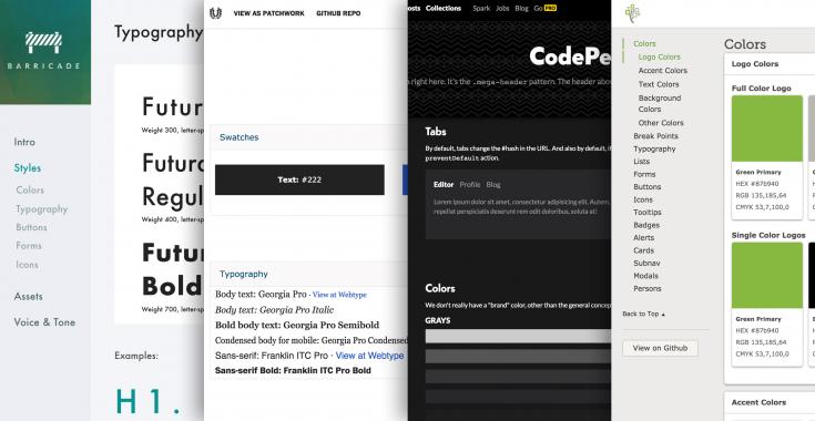 Van links naar rechts de style guides van: Barricade, AListApart, CodePen, Familysearch