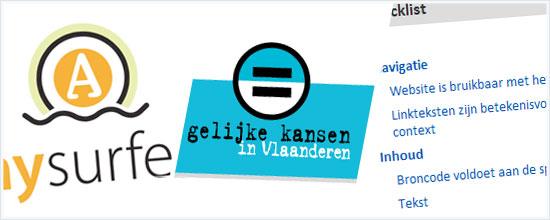 Anysurfer logo - Gelijke Kansen in Vlaanderen logo - screenshot van de checklist
