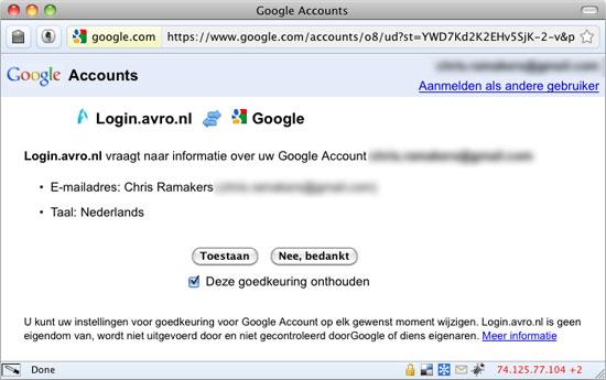OpenID Bevestiging bij Google