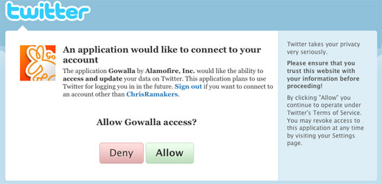 Gowalla twitter authentication